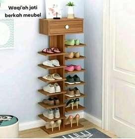 Rak sepatu jati, moderen, bahan kayu jati tua asli terbaik