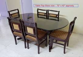For sale - Six Seater Dining Table with Glass top