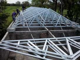 Pemasangan rangka atap baja ringan+genteng metal pasir/galvalum