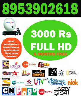 TATA SKY HD BOX+6 MONTHS HD PACK ONLY Rs 3000-TATASKY DISH AIRTEL D2H