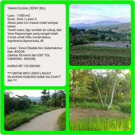 Tanah murah dgn View indah 7.003 m2, 50 menit dr TOL CIBINONG-BOGOR.