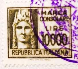 Prangko kuno 10000 Lire Italy barang langkah jadul antik kondisi 96%