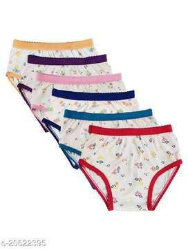 6 Pices NI2 Baby Girls White Cotton Panties