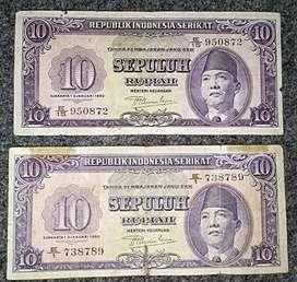 uang suekarno th 1950 pecahan 10 rupiah 2 lembar