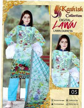 three piece unstiched fabric (digital lawn) for wholesale