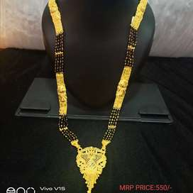 Long mangalsutra with golden pendent