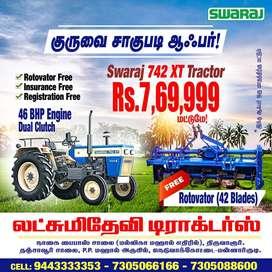 Swaraj Tractors dealer - Kuruvai sale - Rotavator free