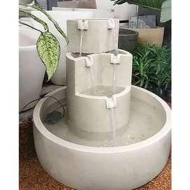 Kolam Air Mancur Minimalis Bertingkat Varian Putih mewah