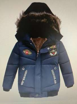 Navy Blue applique solid Hoodies winter jacket for kids 3 to 4 years