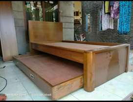 Tempat tidur minimalis anak 2susun material kayu jati AJF64