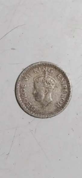 Indian old coins 1/4 rupees India 1943