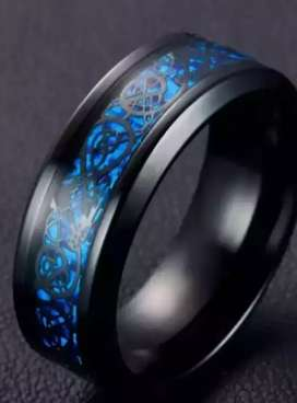 Stainless Steel Ring Stylish titanium black ring with blue surface