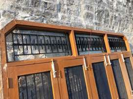 Window with grill glass jali