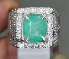 Cincin Zamrud Stone Kolombia Emerald Beryl bersertifikat asli