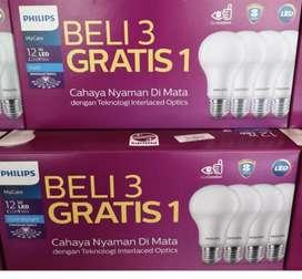 Lampu led philips 12 watt isi4 paket putih