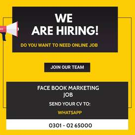 Work from home, - Face Book Marketing Job