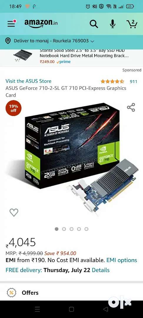 ASUS GT 710 2GB GDDR5 only 4month old graphic card