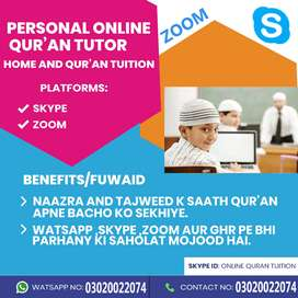 tutor available for online Quran tution and home tutor