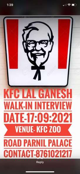 Walk-In Interview on 17th sept21 at Zoo Tinali KFC store