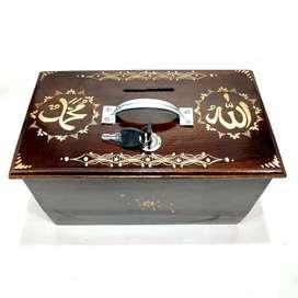 Kotak Amal Celengan Kayu Jati Ukir Cukit Lafadz Allah Muhammad Unik