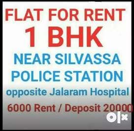 1Bhk flat first floor , road touch building near silvassa police statn