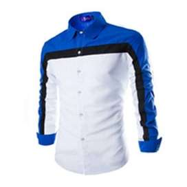 Robin White Blue SC kemeja pria katun stretch putih biru