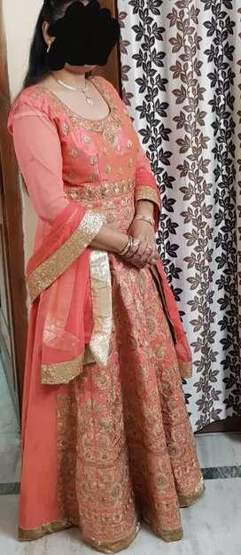 Anarkalli peach coloured dress