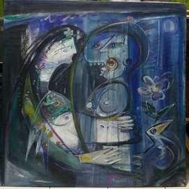 Lukisan Bernyanyi Diiringi Harpa Karya Maestro Umar Sumarta 1999