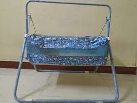 Baby Cradle Cum Cot with Mosquito Net (Blue)