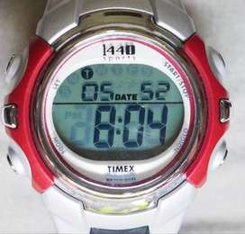 Timex 1440 sports watch silver red