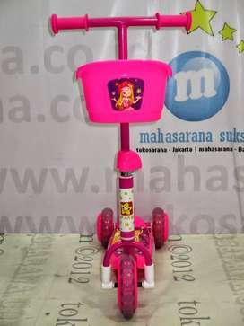 Skuter Music Keranjang Roda 3- PMB - Barbie Pink