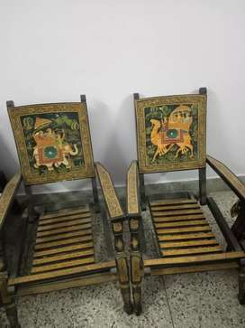 Rajasthani wooden chairs in good condition four numbers