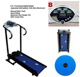 Manaul Roller Treadmill with Display Meter and Pulse