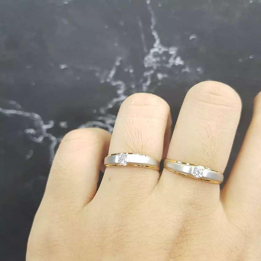 Cincin emas putih 40% Berlian Eropa 0