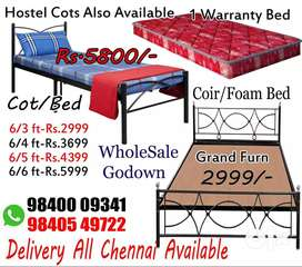 New Single Cot Double Queen King Metal Steel Cot with Mattress Sale
