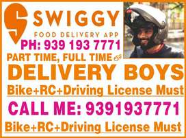 Wanted delivery staff for swiggy