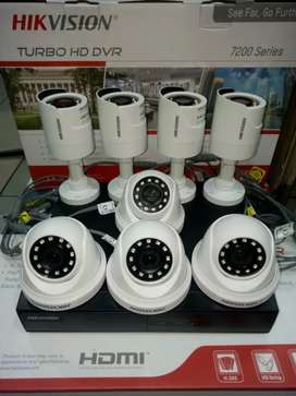 Paket komplit 8 camera cctv Hikvision 2 Mp include pemasangan.