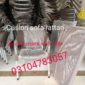 Sofa cusion in decent model grace brand 4 chairs 1 table set
