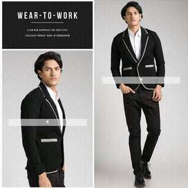 Blazer Black Casual Greylist Aliando Style - SK46