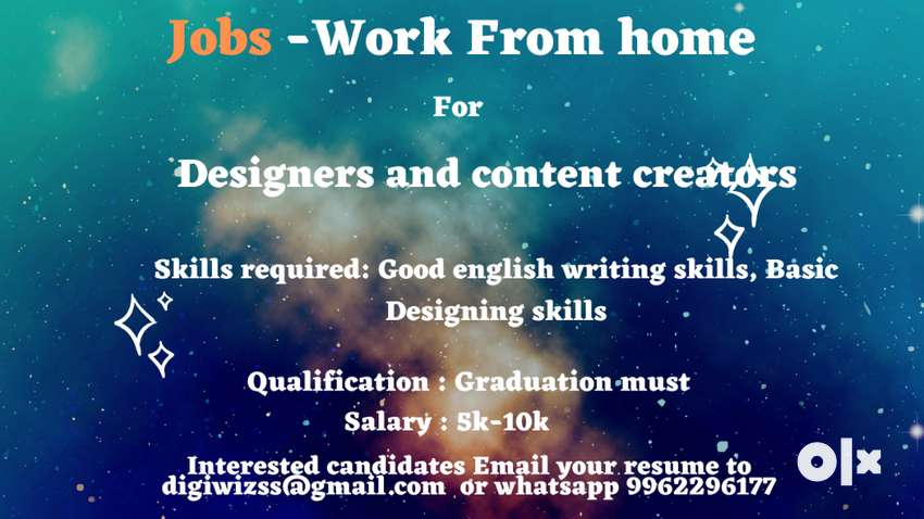 Work from home Jobs for Designers and content creators