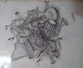 Sketch of musical instruments
