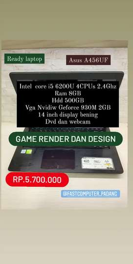 Laptop asus A456UF  I5 Gen 6  Ram 8GBVga Nvidia 930M Kuat Buat render