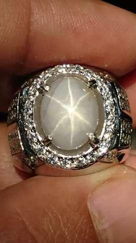 White Star Sapphire 6.40 carat Srilangka Natural Harga Pas Tidak Nego