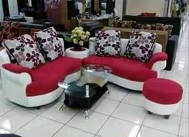 Sofa set MIAMI cream-merah+bantal+puff kulit kombinasi kain baldu.