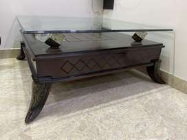 Antique Wood Table- Glass Top