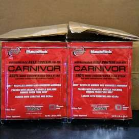 10 Sachet Susu Musclemeds Carnivor Beef Protein Isolate Plus Creatine.