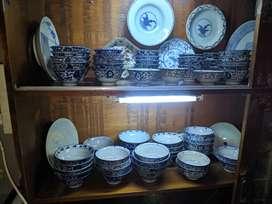 keramik china dinasty mangkok ming biru putih asli 65 pcs kuno antik
