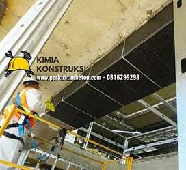 Revitalisasi retrofit bangunan, perkuatan Carbon FRP, injeksi beton