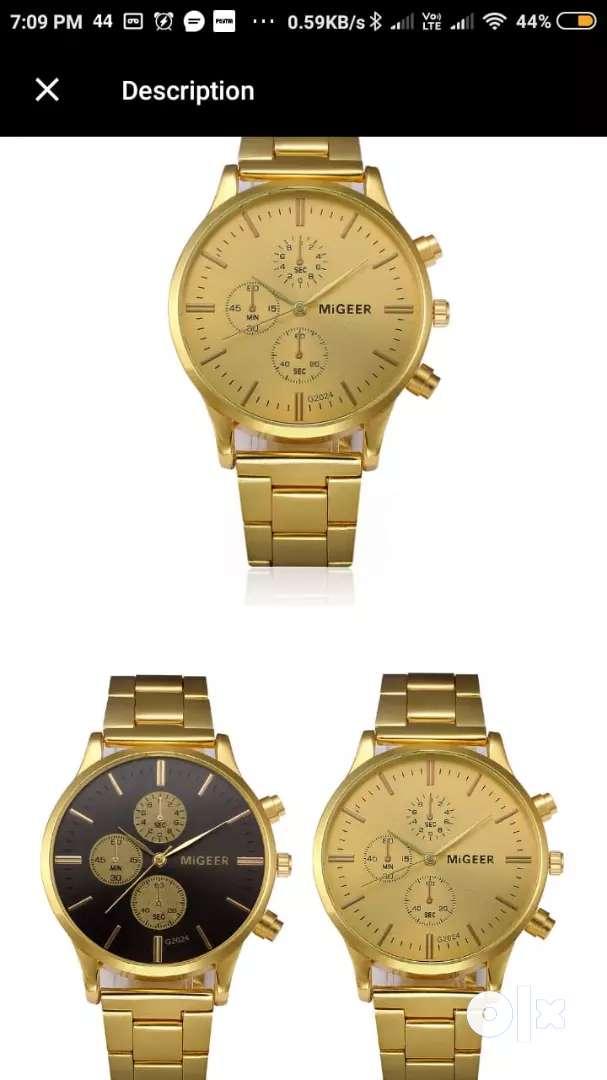 new gold waterproof wrist watch with box 0