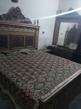 King size bed with matress two side tables and dressing table